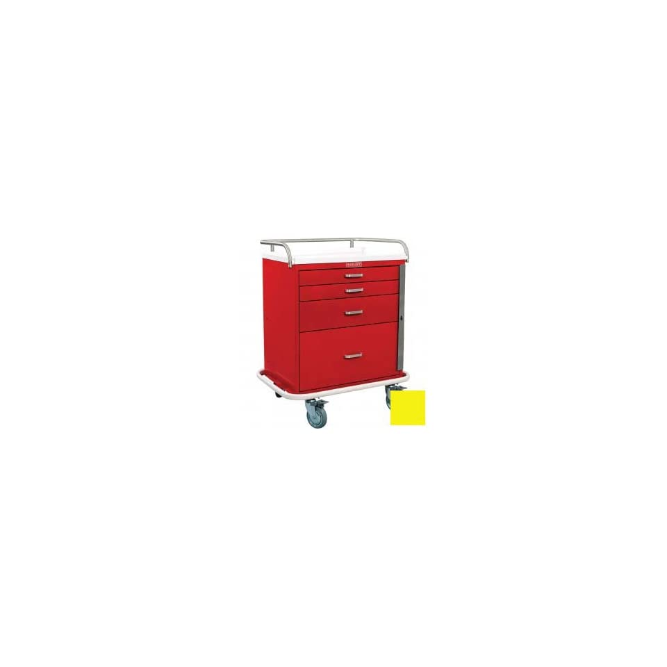 Harloff Classic Short Four Drawer Emergency Crash Cart Standard Package, Yellow