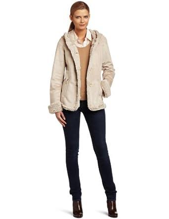 Jones New York Women's Hooded Suede Jacket, Parchment