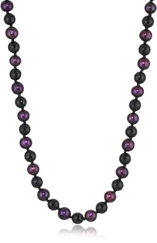 Sterling Silver Purple Red Potato Freshwater Cultured Pearl with Faceted Onyx Endless Necklace, 34