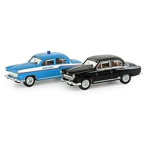 """Herpa 065412 – 2er Set Wolga """"Taxi / Polizei"""" (Spur TT)"""