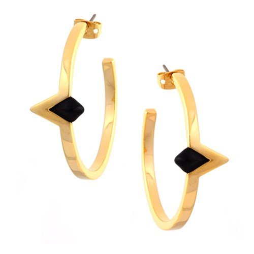 House of Harlow 1960 - Black Resin Triangle Earrings - 14 Karat Yellow Gold Plated