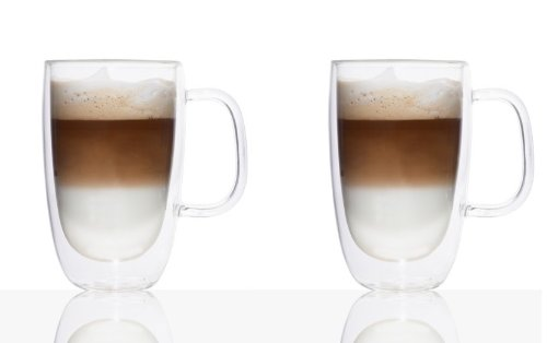 Double-Wall Glass Coffee Mug 400ml Set Of 2 by Brilliant