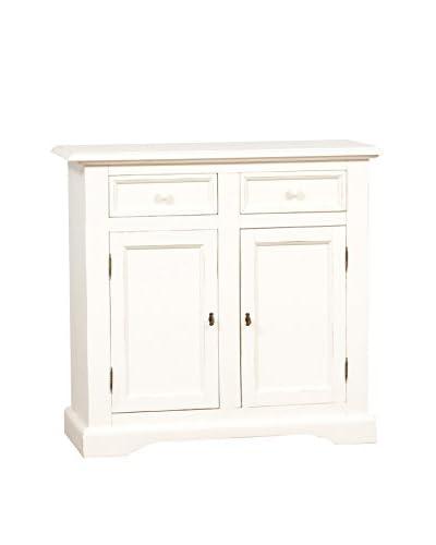 ARREDO WHITE Credenza 2 Ante In Massello Di Tiglio Bianco 110 x 103 x 45 cm