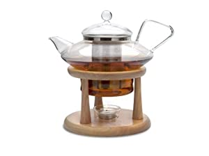 Adagio Teas 30 oz. Glass Teapot & Wooden Stand by Adagio Teas