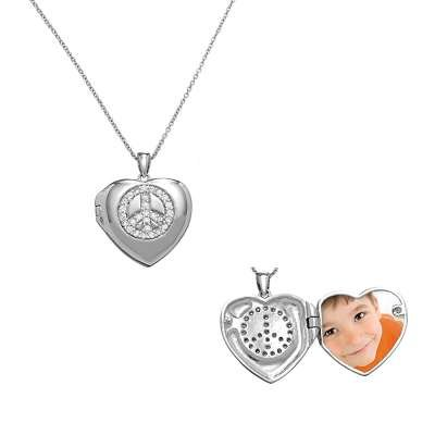 Sterling Silver Cable Chain Necklace with Invisible Set Peace Symbol Design in Heart Locket Pendant(WoW !With Purchase Over $50 Receive A Marcrame Bracelet Free)