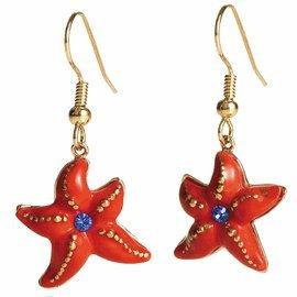 Franz Porcelain Starfish Rhodium plated brass & porcelain earrings
