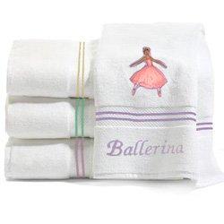 Personalized Ballerina Embroidered White Bath Towels - Thread Color Lavendar