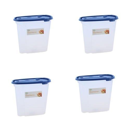 Ardisle Lot de 4 bidons Distributeur de céréales-Couleur-Boîte de rangement-Couvercle riz Pot à pâtes alimentaires sèches poubelle conteneur