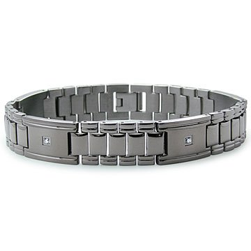 Mens Titanium Cubic Zirconia 14K Gold Screw Link Bracelet