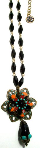 "Ollipop Retro Bronze Metal Sunset Flower 16"" Necklace"