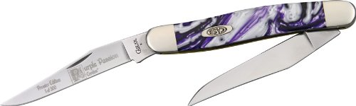 Case Cutlery 9220Pp Purple Passion Corelon Peanut Pocket Knife With Stainless Steel Blades, Purple And White Mixed Corelon
