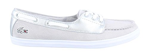Lacoste Women's Ziane Deck 116 1 Fashion Sneaker, Silver, 6 M US