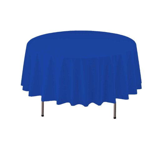 "Party Essentials Heavy Duty Round Plastic Table Cover, 84"", Royal Blue"