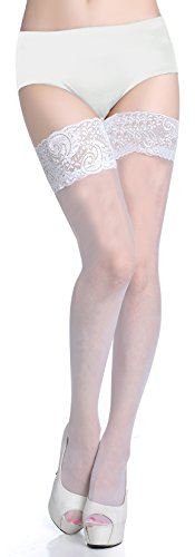 Lubricious Thigh High Stockings (Plus Size 1 Pack, White) (Plus Size High Socks)
