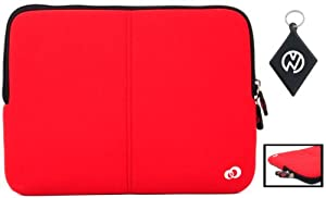 Kindle Fire Tablet / e-Book Reader Neoprene Sleeve Case with Internal Hidden Pocket, Color Black / Red + NuVur ™ Keychain (ND07FTR1)