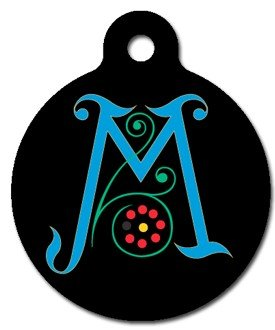 Monogram Letter M Pet ID Tag for Dogs and Cats