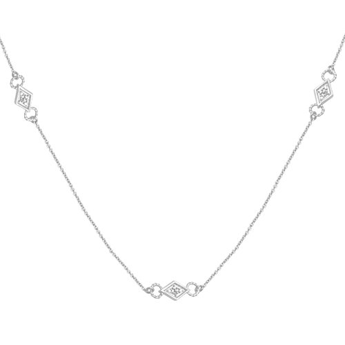 10k White Gold Diamond Chain Component Necklace (1/10 cttw, I-J Color, I3 Clarity), 18