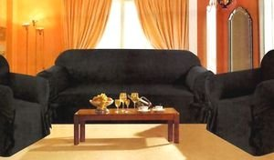 Sofa / Couch Cover Slipcover 3 Pc. Set = Sofa + Loveseat + Chair Covers / Slipcovers 3 Pcs SET Stripe Jacquard Fabric - Black color