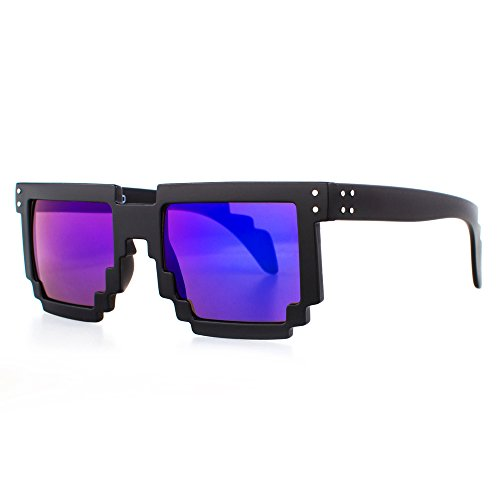 Distressed Pixel occhiali da sole in stile retrò 70 80er schwarz-blau/lila-verspiegelt