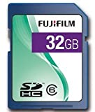 Fujifilm 32GB SDHC Class 6; 32768 MB; Secure Digital High-Capacity (SDHC); Blue (P10NM00530A)
