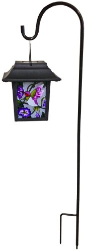 Continental Art Center Ns2218B Four Sided Stained Glass Solar Lantern, Purple Hummingbird, 29.5-Inch