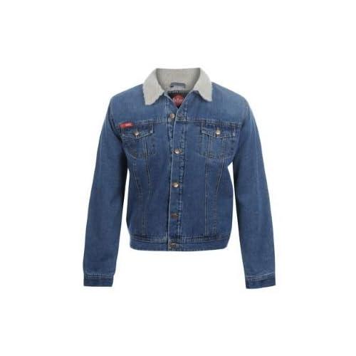 Lee Cooper Sherpa Denim Jacket Mens Indigo Extra Lge