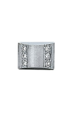 14K White Gold Pillow Shaped Tie Tac With Diamonds-86472