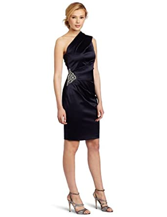 Eliza J Women's One Shoulder Dress With Beaded Patch At Side Waist, Navy, 14