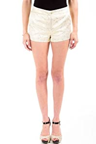 Stitch Embroidered Shorts in Gold