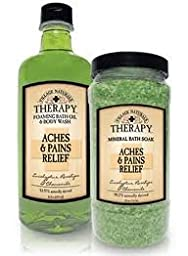 Village Naturals Mineral Bath Soak & Foaming Bath Oil & Body Wash Set (Aches & Pains)