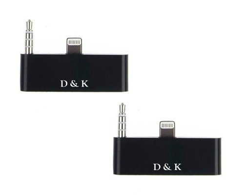 D & K Exclusives® 2Pcs Black 30 Pin To 8 Pin Lightning 3.5Mm Audio Adapter Converter For Iphone 5 Ipod Touch 5 To Sound Dock Speaker, Like Bose, Jbl, Ihome, Ipod Nano (2 Pack)