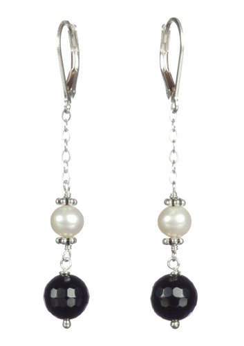 Sterling Silver Black Onyx with White Freshwater Cultured Pearl Chain Earrings