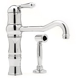Rohl A3479LPWSTCB-2 Country Kitchen Faucet with Side Spray and Porcelain, Tuscan Brass