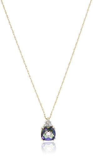 "10k Yellow Gold, Mystic Topaz, and Diamond Pendant Necklace, 18"""