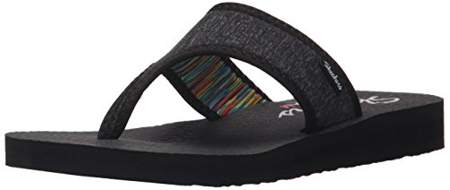 Skechers Cali Women's Meditation Zen Child Flip Flop, Black, 7 M US