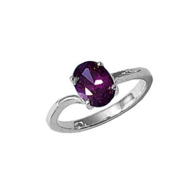 Ladies Sterling Silver Solitaire Amethyst Cubic Zirconia Engagement Ring
