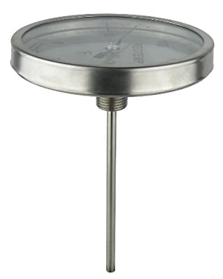 "REOTEMP BB0251F43 Stainless Steel Bi Metal Thermometer, 2-1/2"" Stem, 1/2"" NPT Connection, 5"" Dial, 0 to 200 Degrees F, Back Mount"