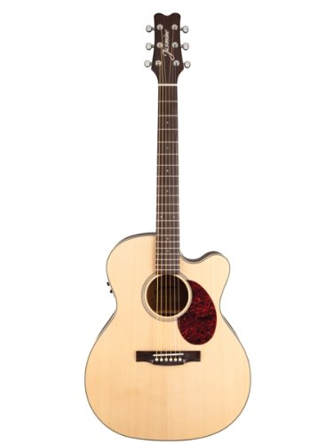 Jasmine Jo37Ce Orchestra Style Acoustic-Electric Guitar Bundle With Gig Bag, Tuner, Strap, Strings, Picks, And Polishing Cloth - Natural