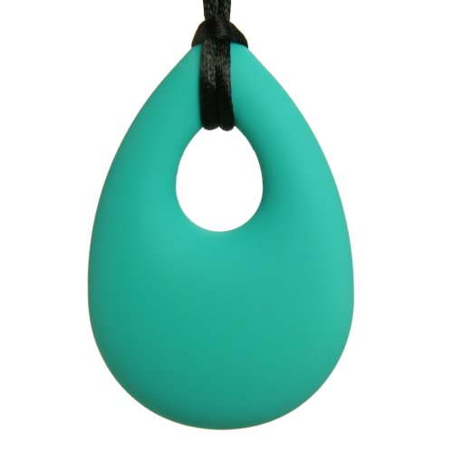 Teething Necklace Jewelry - Organic BPA Free Silicone Teether Ring Pendant Toys for Nursing Moms - Angel Tear - Turquoise
