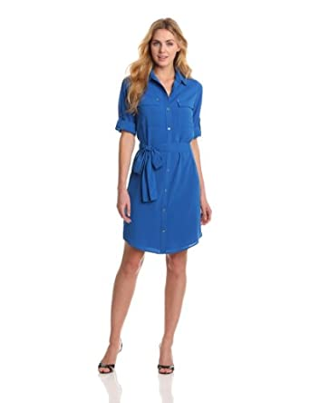 Calvin Klein Women's Shirt Dress, Cobalt, Small