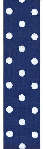 Offray Polka Dot Grosgrain Craft Ribbon, 1-1/2-Inch Wide by 50-Yard Spool, Light Navy