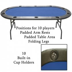 Trademark Poker Full Size Texas Hold'em 83 x 44-Inch Poker Table (Blue Felt)