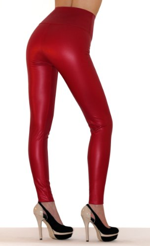 SODACODA® Sexy Ladies High Waist Stretch Faux Leather - Tight Leggings - wet look all colours incl. metalic (Red,M)