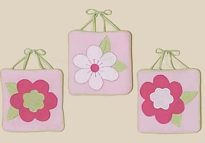 Pink and Green Flower Collection Wall Art Hangings