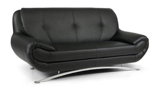 B-famous 3-Sitzer Sofa Spring 202 x 88 cm, Kunstleder, schwarz