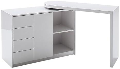 Robas Lund 40220W4 Schreibtisch Matt, Kombination aus Schreibtisch und Regal, Drehfunktion, 166 x 42 x 77 cm, MDF Hochglanz weiß