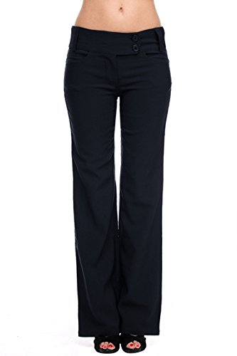 LUV Women's Sleek and Trendy Dress Slacks Navy L (65400