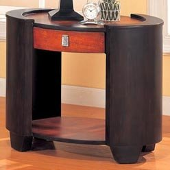 Cheap King Contemporary Oval End Table with Drawer and Shelf by Coaster (B0051PE7C6)