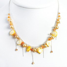 Sterling MOP Champagne Orange Peach Pearl Necklace - 16 Inch - Lobster Claw - JewelryWeb