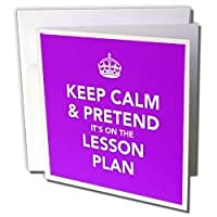 EvaDane - Funny Quotes - Keep calm and pretend it's on the lesson plan. Teacher humor. Professor humor. - Greeting Cards-12 Greeting Cards with envelopes by 3dRose LLC